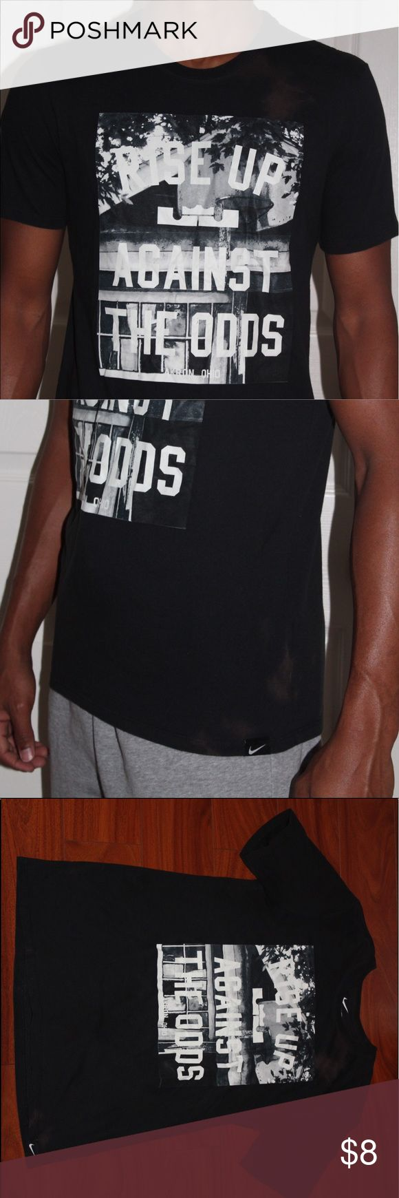Lebron James Nike T-Shirt Short has been used quite a bit/ has a few stains as shown in the pictures/ size medium Nike Shirts Tees - Short Sleeve