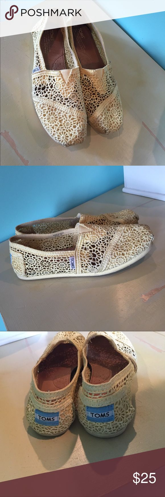 GENTLY WORN YELLOW CROCHET TOMS Gently worn, good condition. Yellow crochet(flowers) toms. Super comfortable. Cute for spring & summer TOMS Shoes Flats & Loafers