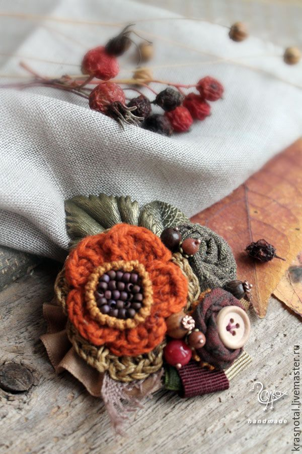 "Купить ""Охра"" бохо брошь оранжевая, рыжая - рыжий оранжевый охра, рыжая брошь, textile brooch, flower brooch, textile brooches, handmade textile brooch"