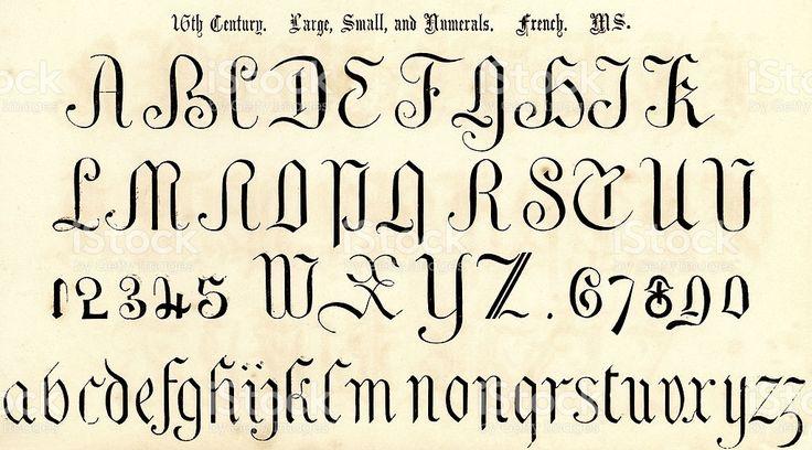 Ilustração de stock royalty-free Estilo do século 16 Alfabeto Script