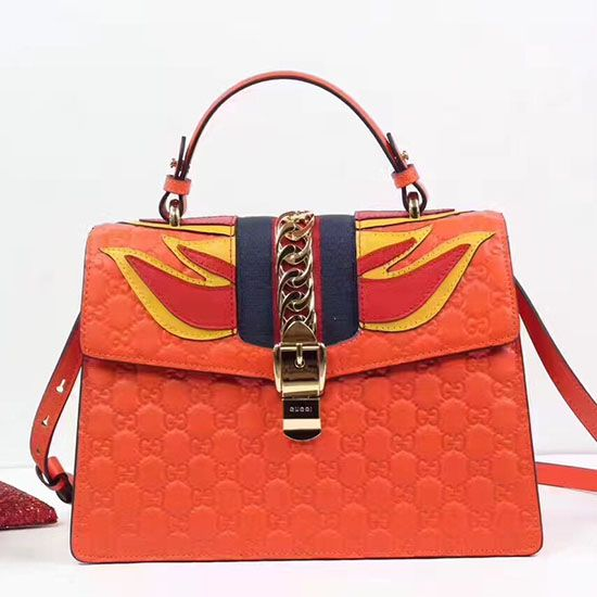 d9772b3fcf0 Flames Sylvie Gucci Signature Bag Orange 431665
