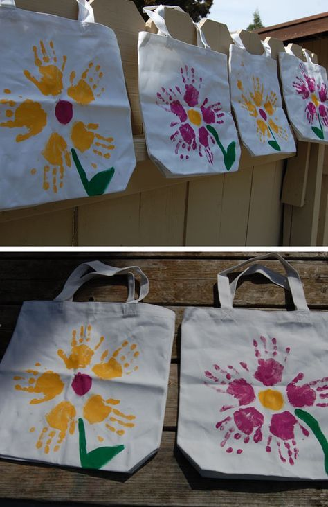 Handprint Flower Tote Bag | Click Pic for 20 DIY Mothers Day Craft Ideas for Kids to Make | Homemade Mothers Day Crafts for Toddlers to Make