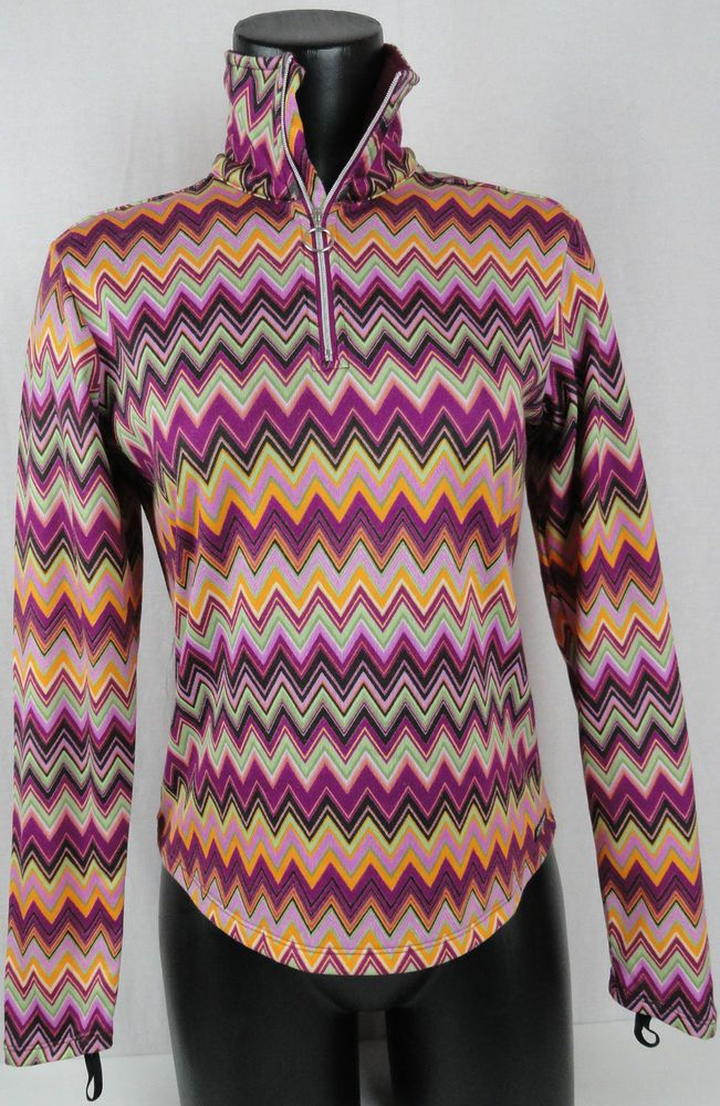 Womens Sz S Athleta ZigZag Design Raspberry Multi-Color 1/2 Zip Pullover L/S Top #Athleta #12ZipPullover #Casual
