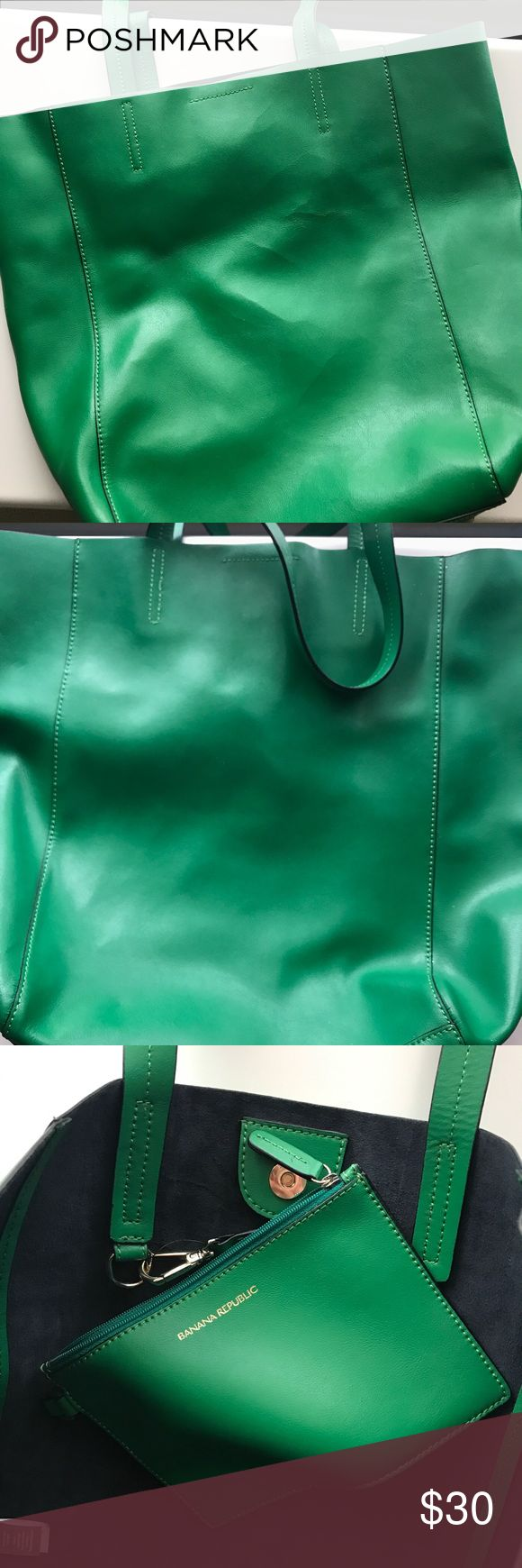Banana Republic Emerald Green Tote This super cute emerald green Tote was only used a few times, there is no sign of wear! It is genuine leather. Banana Republic Bags Totes