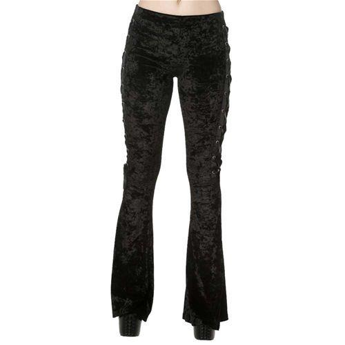 Haunting Return fluwelen dames flare legging met lint detail zwart - Gothic Metal - XS - Banned