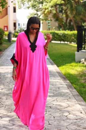 Beaute' J'adore: DIY Resort Style Caftan pt1 The caftan was made using vintage Simplicity 8354 pattern with the following alterations: -Added 3″ to the length -Created a 7″ from the neck graduated V