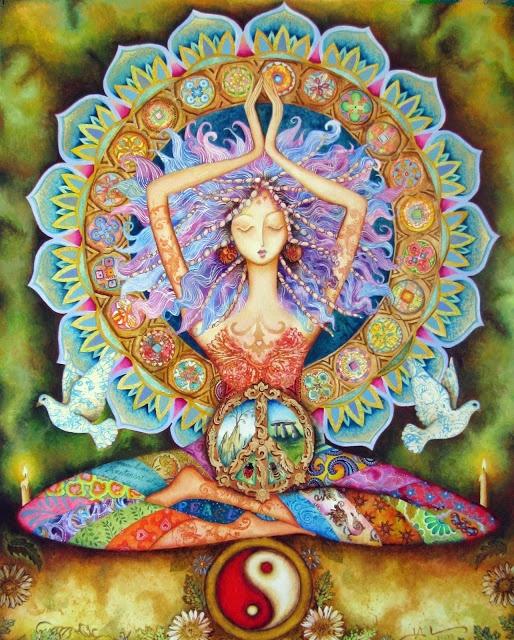 """""""A deusa torna o corpo e a vida sagrados,   e liga-nos à divindade que permeia toda a matéria: o seu órgão simbólico é o útero. """"        """"O seu órgão de conhecimento é o coração.   Tanto o coração como o útero são vasos através dos quais a vida desperta.   São ambos cálices para o sangue que os enche e os esvazia.   Um sustenta a vida, o outro traz novas vidas ao mundo.""""      ~ Jean Shinoda Bolen, do livro """"O Milionésimo Círculo"""""""