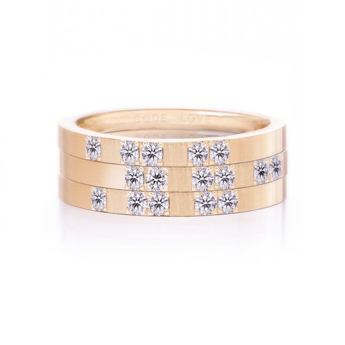 CODE LOVE 'XOX' Morse Code Union Ring - These unique and beautiful Union Rings have been designed to stack. There are 26 rings in the collection each representing a letter of the English alphabet. Designed using brilliant cut diamonds set in either rose, yellow or white gold you can create whatever your heart desires! www.codelove.com.au