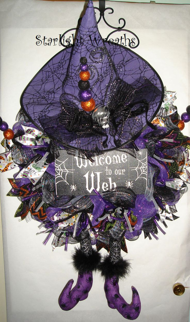 Welcome to our Web Witch Mesh Wreath with Hat by StarlightWreaths
