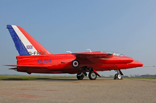 Folland Gnat G-FCRE (XS104) now privately owned and operated basking in the spring sun at former RAF base North Weald.
