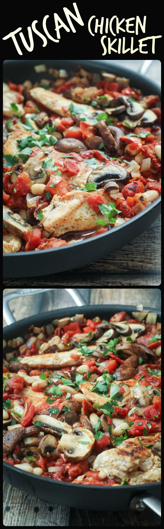 Tuscan Chicken Skillet. Yummy! The bean/tomato part tastes just like Biaggi's Oven-Roasted Tilapia (one of my faves). May make it with tilapia next time. Would be great served with asparagus too!