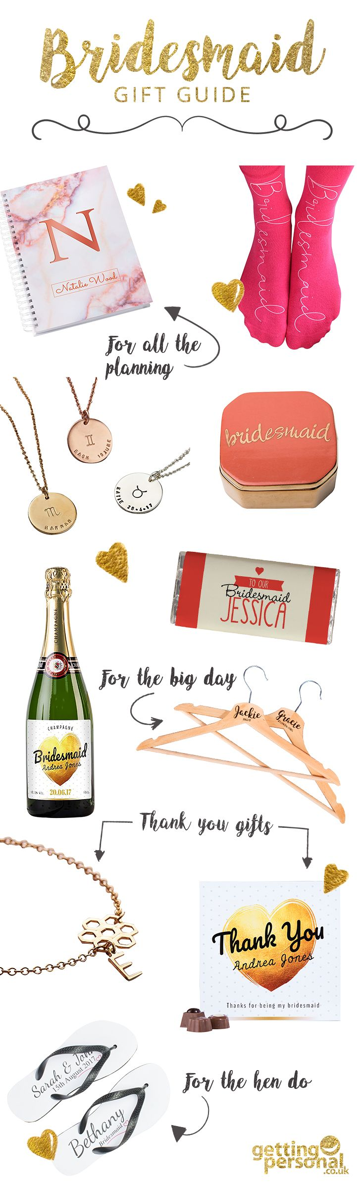 From jewellery and flip flops to notebooks and chocolate, say thank you to your girls with our personalised bridesmaid gifts!