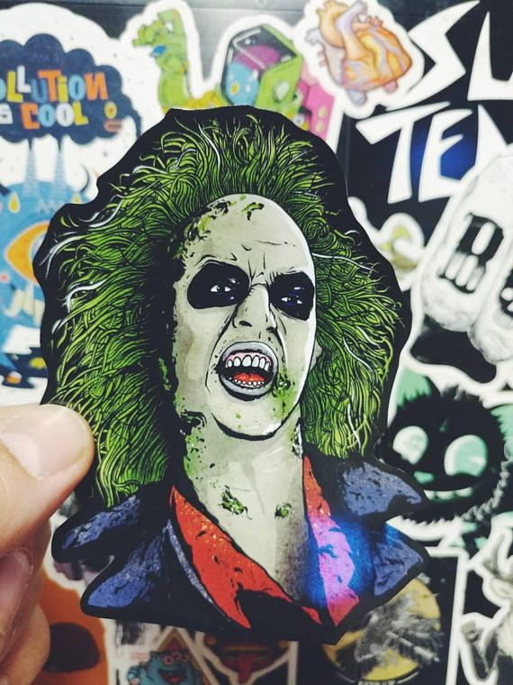 Beetlejuice sticker (tim burton horror stickers pack decal