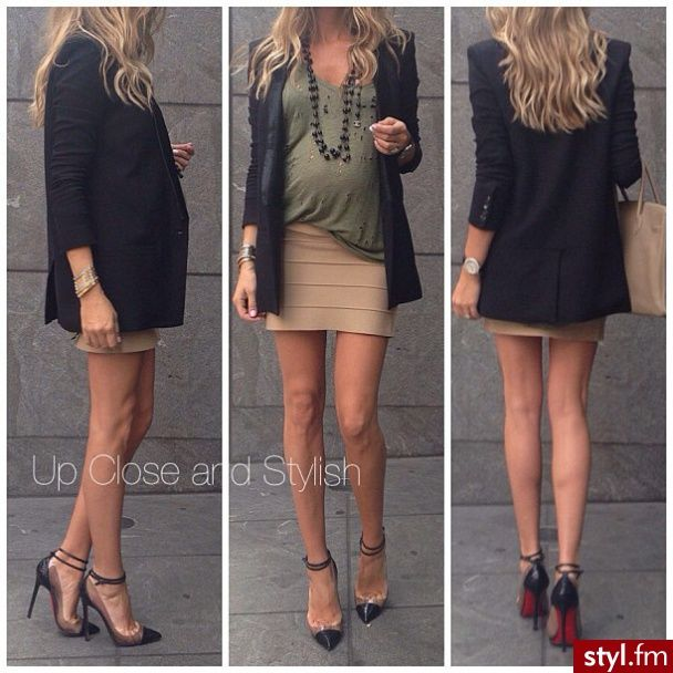 #maternity Like the look of a slouchy top tucked into skirt with blazer
