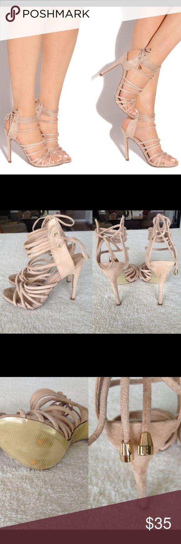 """Lola Shoetique Nude Strappy High Heel Sandals Only been tried on and worn around the house. Still in good condition, however the back of the right heel has a black scuff mark, there are slight toe imprints on the insole, and some of the fabric is scratched along the toe area. See photos for detail. Sold out on Lola Shoetique site. Faux suede, slightly padded insole. Gorgeous nude, beige color that goes with everything. Approx. 4.5"""" heel with approx. 0.5"""" platform. Cape Robbin Shoes Heels"""
