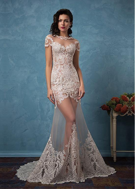 Acheter Superbe Tulle & Satin Encolure Bateau See-Through 2 In 1 Robes de mariée avec appliques de dentelle pas cher chez Dressilyme.com