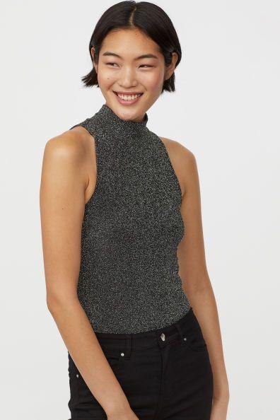 9d3f519e2f67e H&M Glittery Bodysuit - Silver in 2019   Fashion Loves   Black ...