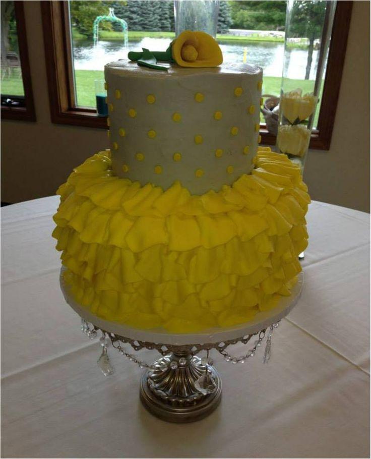 Silver & Yellow Wedding Cake