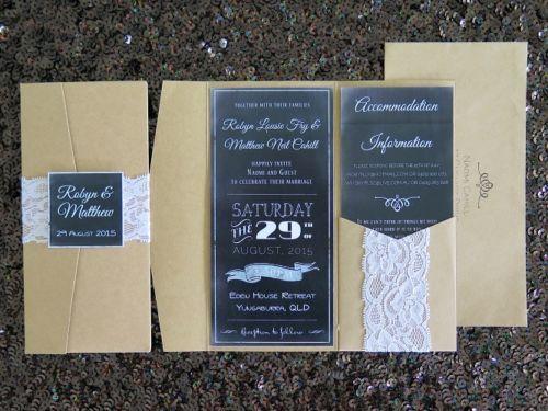 Kraft paper-pocketfold Invitation DL size portrait style envelope