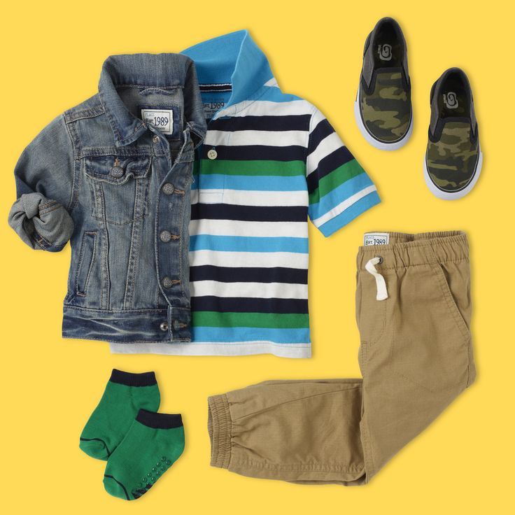 Toddler Boy Back-to-School Outfit | Denim jacket, striped polo, jogger pants and camouflage sneakers. | As your little one heads back into the classroom, we know that he wants to return with style. Mix-and-match patterns with a denim jacket for a first day look he'll love!