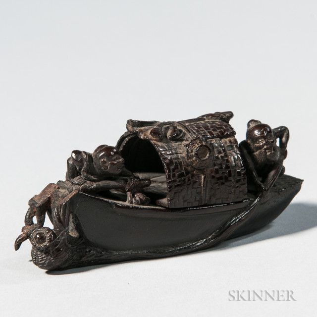 Carved Bamboo Boat | Sale Number 3025B, Lot Number 235 | Skinner Auctioneers