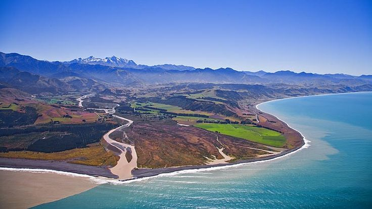 The mouth of the Clarence River on the Kaikoura Coast,  see more at New Zealand Journeys app for iPad www.gopix.co.nz