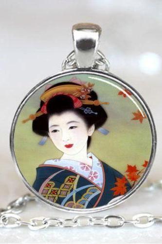 Japanese Geisha Pendant, Japanese Geisha Necklace, Japanese Geisha Jewelry