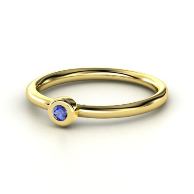 14K Yellow Gold Ring with Blue Sapphire  | Round Solitaire Stack Ring | Gemvara