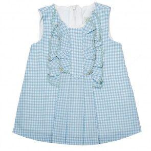 Vestido azul con cuadros blancos - 6 meses
