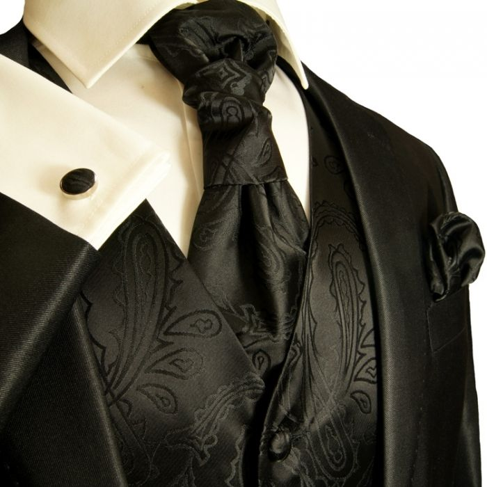 Black Tuxedo Vest Sets , Mens Vests , Wedding Vests for Men