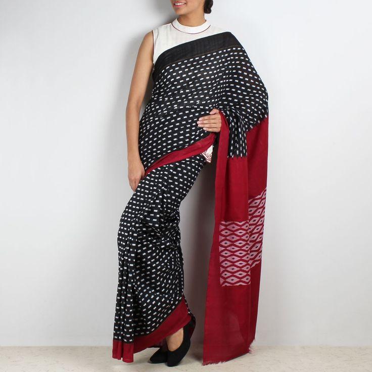 Red barfi ikat cotton saree