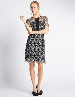Lace Short Sleeve Shift Dress | M&S