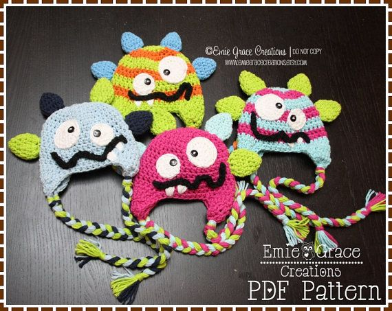 Monster Hat Crochet Pattern 8 Sizes Newborn by EmieGraceCreations
