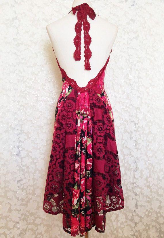 Rot Schauspiel offenen Rücken Neckholder Kleid. von AtelierVertex