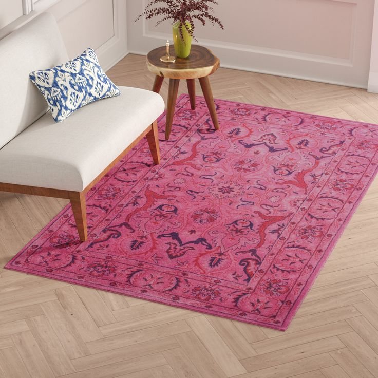 Reid Oriental Handmade Tufted Wool Pink Area Rug Pink Area Rug Purple Area Rugs Area Rugs