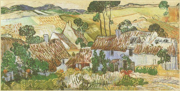Case con tetti di paglia sullo sfondo di una collina - 1890 - Van Gogh - Opere d'Arte su Tela - Listino prodotti - Digitalpix  - Canvas - Art - Artist - Painting
