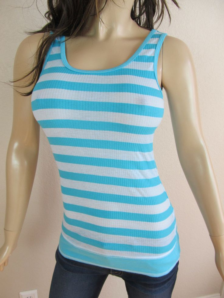 T-Party Aqua Blue Ribbed Striped Tank Top Fitness Workout