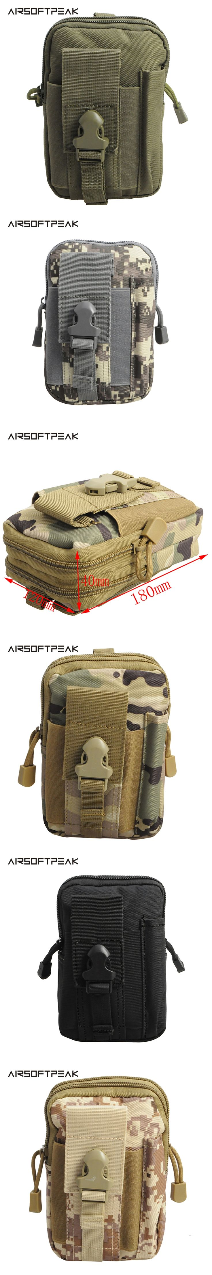 AIRSOFTPEAK Outdoor Military Molle Waist Bag Tactical Holster Universal Hunting Pouch Belt Phone Case Pocket For iPhone 8