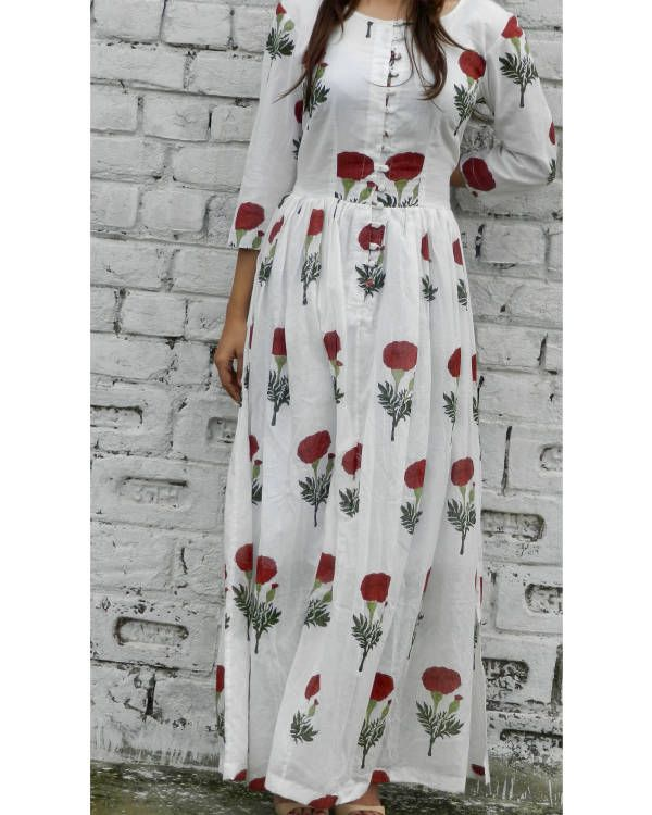 Red flower block printed maxi dress  |  Shop now: www.thesecretlabel.com