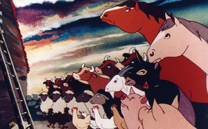 The temperamental donkey Benjamin in the film version of George Orwell's Animal Farm