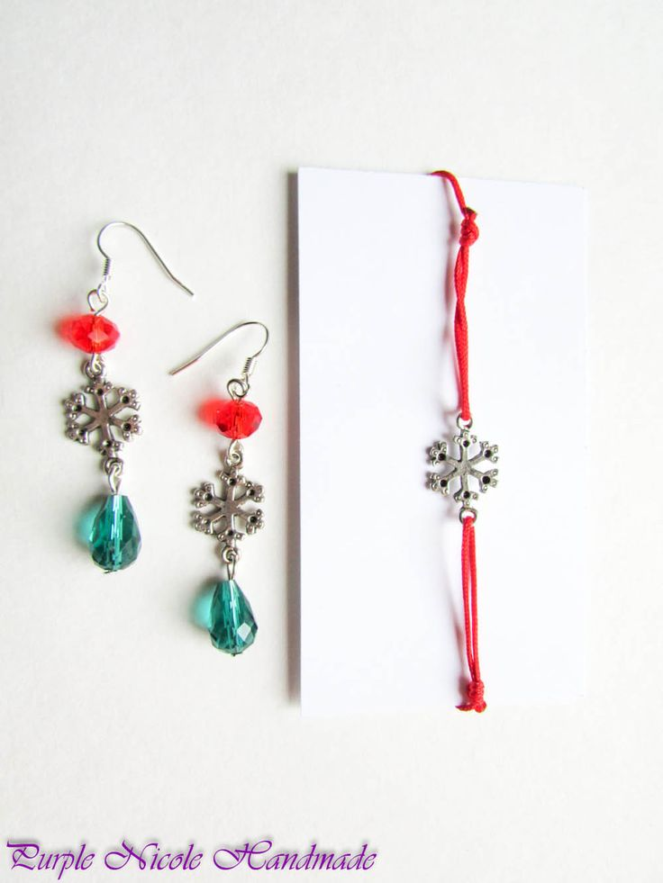 Christmas - Handmade Jewelry Set: lucky bracelet and earrings, by Purple Nicole Handmade (Nicole Cea Mov). Materials: glass redgreen crystals, metallic snowflakes, red cord.