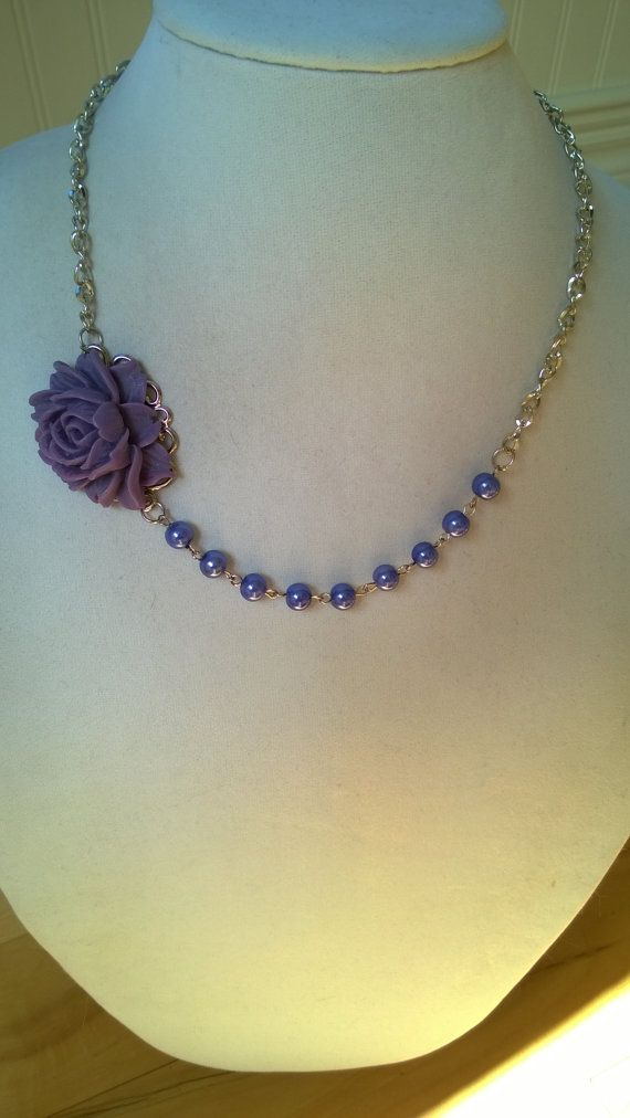 Lilac wedding jewelry flower necklace by LesBijouxLibellule