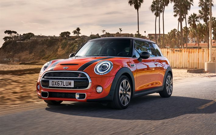 Download wallpapers Mini Cooper S, 2018, new cars, orange new Cooper S, British cars, Mini