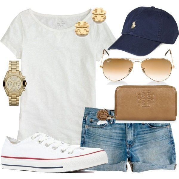 **** Try out Stitch Fix today!  Weekend casual style - navy baseball hate, rolled cut offs, plain white tee, white converse, gold aviators and statements!  Stitch Fix Spring, Stitch Fix Summer, Stitch Fix Fall 2016 2017. Stitch Fix Spring Summer Fall Fashion. #StitchFix #Affiliate #StitchFixInfluencer