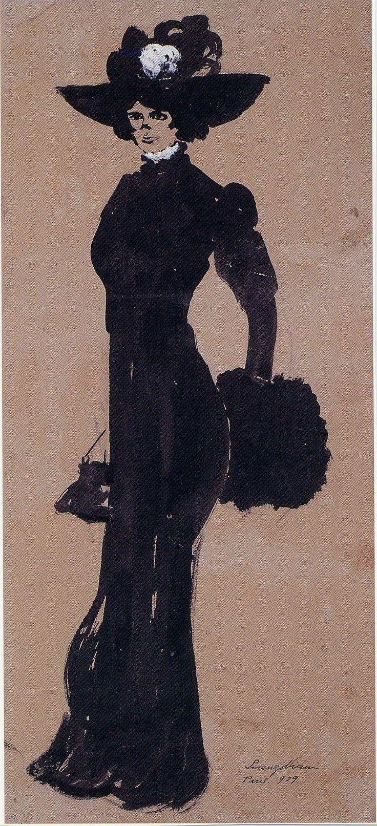 Lorenzo Viani, Ritratto di Sarah Bernhardt, 1909, china e tempera su carta....