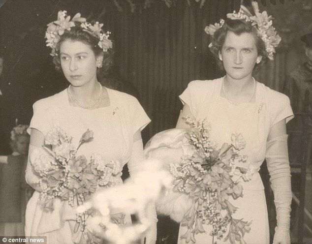 The Queen and Lady Margaret were bridesmaids at the wedding of the Hon Mrs V. Cary Gibbs, ...