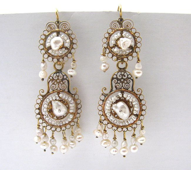 Victorian Mexican 10K Gold Seed Pearl Earrings