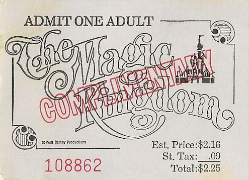an admission ticket to the Magic Kingdom. It has no date printed on it, so I can't pinpoint a time, but the cost of entry was $2.25.  I know your first thought is this is incredibly cheap.  But you have to remember, all this ticket did was grant you admission into the park.  If you wanted to ride on something, you needed an A thru E ticket.