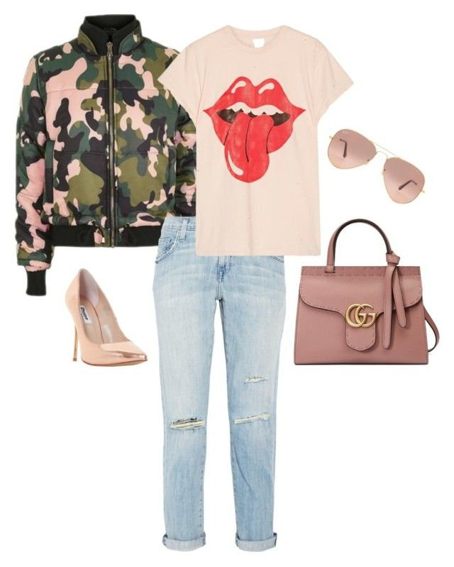 """""""Rose Gold & The Puffer"""" by luluuheree on Polyvore featuring Topshop, Current/Elliott, Dune, MadeWorn, Ray-Ban and Gucci"""