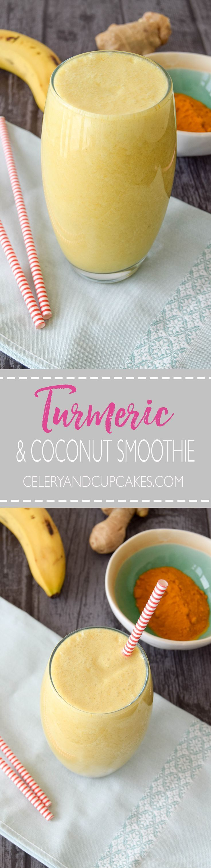 A golden anti-inflammatory smoothie made with turmeric, delicious coconut milk and hydrating coconut water.
